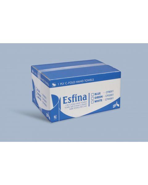 Esfina C-Fold Hand Towels - Blue 1 Ply - Pack of 15 Sleeves (2640 Towels)