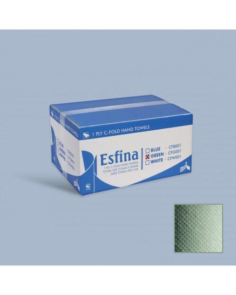 Esfina C-Fold Hand Towels - Green 1 Ply - Pack of 15 Sleeves (2640 Towels)